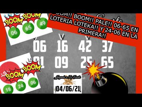BOOM!! BOOM!! PALE 06-65 EN LA LOTERIA LOTEKA Y 24-06 EN LA PRINERA!!