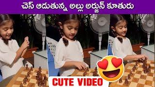 Allu Arjun Daughter Playing Chess | Allu Arha Cute Videos | Rajshri Telugu - RAJSHRITELUGU