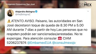 Consulados en EUA piden a mexicanos respetar toques de queda