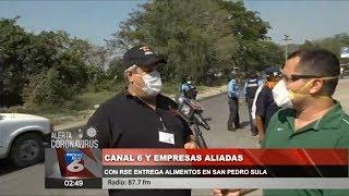 Canal 6 y empresas aliadas con RSE entrega alimentos en San Pedro Sula