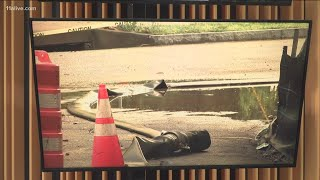 Sinkhole opens after storm on Whitmore Drive