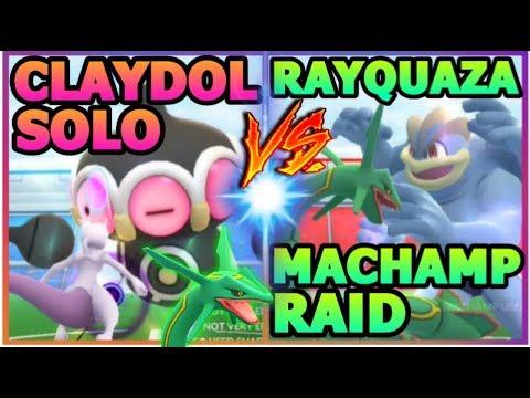 connectYoutube - 3593 CP RAYQUAZA VS MACHAMP RAID IN POKEMON GO | CLAYDOL RAID SOLO GYRO BALL
