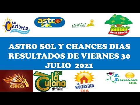 Resultados del CHANCES DIAS de viernes 30 julio 2021,Resultados del ASTRO SOL de 30 julio 2021