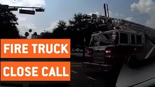 Driver Has Close Call With Firetruck | Near Hit