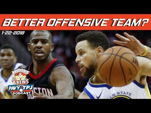 Better Offense, Houston Rockets or GS Warriors ? | Hoops & Brews