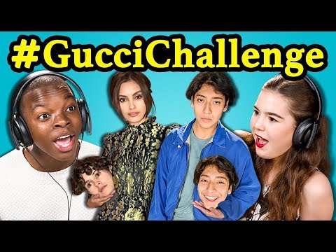 connectYoutube - TEENS REACT TO #GucciChallenge (Hold Your Own Head Challenge!)