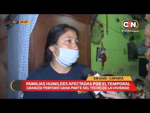 Familias del Barrio Kennedy de Capiatá afectadas por el temporal