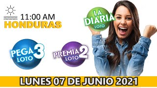 Sorteo 11 AM Resultado Loto Honduras, La Diaria, Pega 3, Premia 2, Lunes 07 de junio 2021   ? ???? ????????