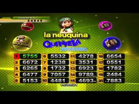 RESULTADO DE QUINIELA MATUTINA Nº 24945/ 15-09-21 - LOTERIA LA NEUQUINA