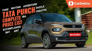 Tata Punch Price In India: Pure, Adventure, Accomplished, Creative | Rhythm, Dazzle Pack Pricing