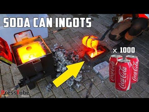 connectYoutube - Shredding & Melting 1000 Coca Cola Soda Cans Into Huge Aluminium Ingots