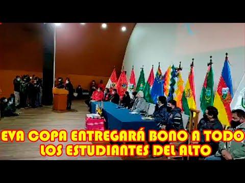 EVA COPA ENTREGARÁ MÁS DE 285 MIL BONOS PARA LOS ESTUDIANTES DE PRIMARIA Y SECUNDARIAS EN EL ALTO..