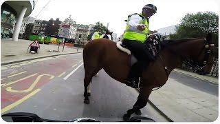 Suzuki GSXR Motorcycle Wheelie Gets Stopped by Police On Horses