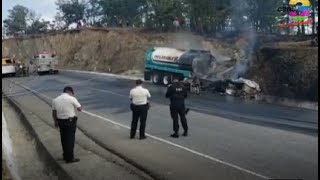 Pipa se prendió en llamas en la ruta de Huehuetenango a Quiché