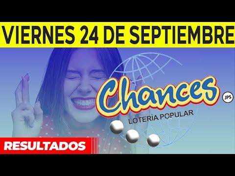 Sorteo Lotería popular Chances del viernes 24 de septiembre del 2021