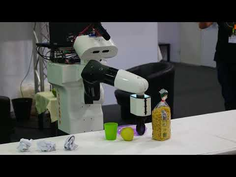 TIAGo autonomously cleaning up a table RoboCup German Open 2018