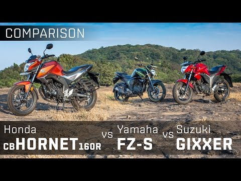 Suzuki Gixxer vs Honda CB Hornet 160R vs Yamaha FZ-S V2.0 :: Comparison Review