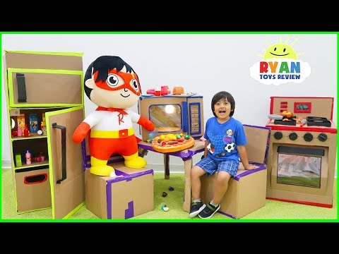 Ryan Pretend Play with Box Fort Kitchen Food Cooking!!!