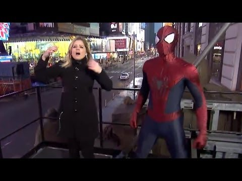 connectYoutube - Spider-Man Fails to Catch ABC News Reporter Sara Haines From Falling