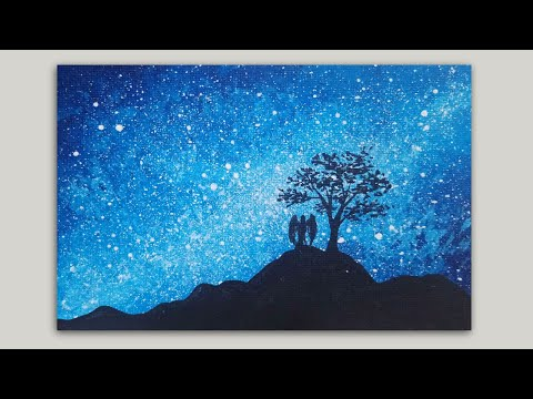 Starry Sky, Angel and Tree Silhouette Acrylic Painting Tutorial