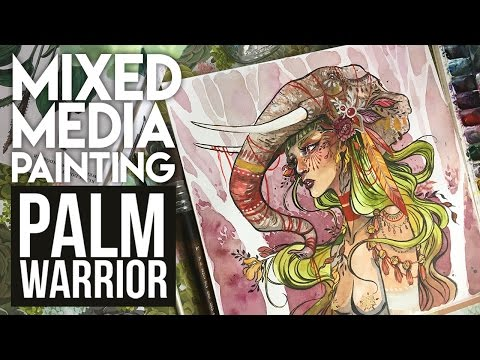 Palm Warrior | Mixed Media Painting
