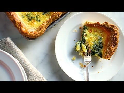 Spinach-and-Cheddar Slab Quiche- Everyday Food with Sarah Carey