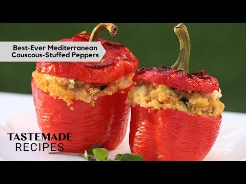 Mediterranean Diet Couscous-Stuffed Peppers   Tastemade Staff Picks