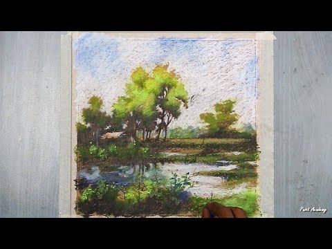How to Paint A Beautiful Oil Pastel Landscape on brown paper