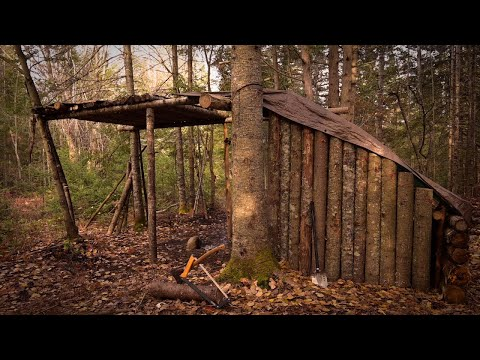 BUILDING A FORT IN THE WOODS-The Return! $250 Boot Giveaway! I BUILT a BARK ROOF for my FORT!