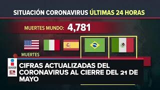 Estadísticas de coronavirus en el mundo (21 de mayo)