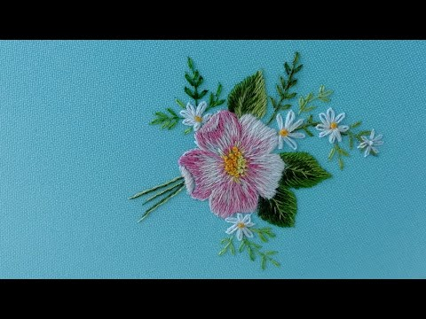 Art Embroidery : Rosehip flower | Long and Short Stitches