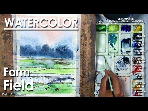 Watercolor Painting : Farm Field