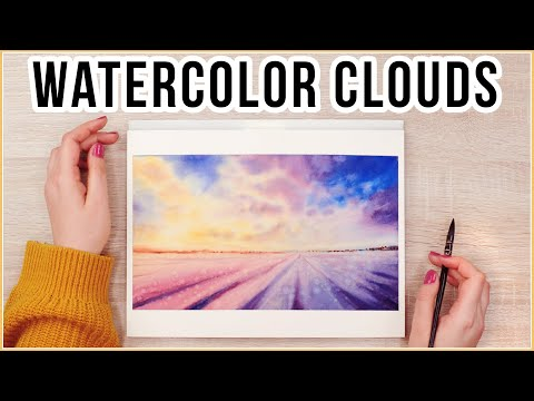 Paint Watercolor Sunset Clouds With Flowers & Get in the Mood for Spring With Me!