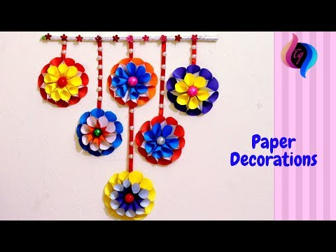 How to make simple paper decorations - Quick and easy paper wall hanging craft - Paper craft ideas