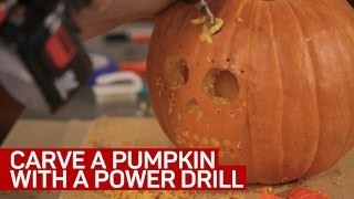 Carve a pumpkin with a power drill