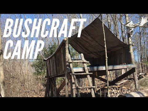 Bushcraft Camp In The New Hampshire Woods: Elevated Platform for Bushcraft, Survival, Overnights
