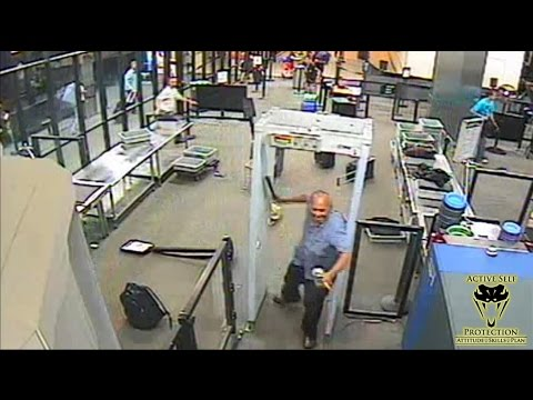 Attack at Airport Screening Caught on Camera   Active Self Protection