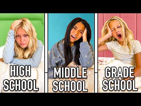 HIGH SCHOOL vs MIDDLE SCHOOL vs ELEMENTARY | Morning Routine w/ 16 kids
