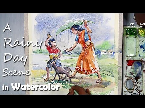 Memory Drawing | A Rainy Day Scene in Watercolor painting step by step