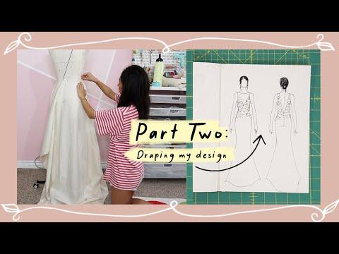 Draping & creating my pattern   Making My White Reception Dress Pt. 2
