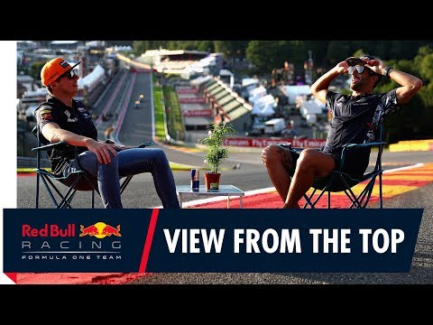 The view from the top! Daniel Ricciardo and Max Verstappen at the Belgian Grand Prix
