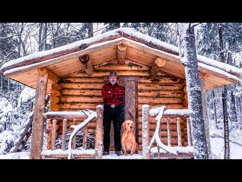 Building a Sauna with Logs in the Wilderness Alone with My Dog   Start to Finish