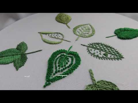Hand Embroidery : Easy 8 types of leaves | Filling leaves