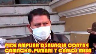 DIPUTADO JUANITO PIDE AMPLIAR D3NUNCIA CONTR4 CAMACHO, PUMARI ,RICARDO PAZ, CARLOS MESA Y TUTO..