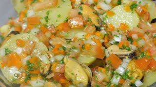 Receta Ají: Ensalada de mejillones y papa curry de coliflor al horno