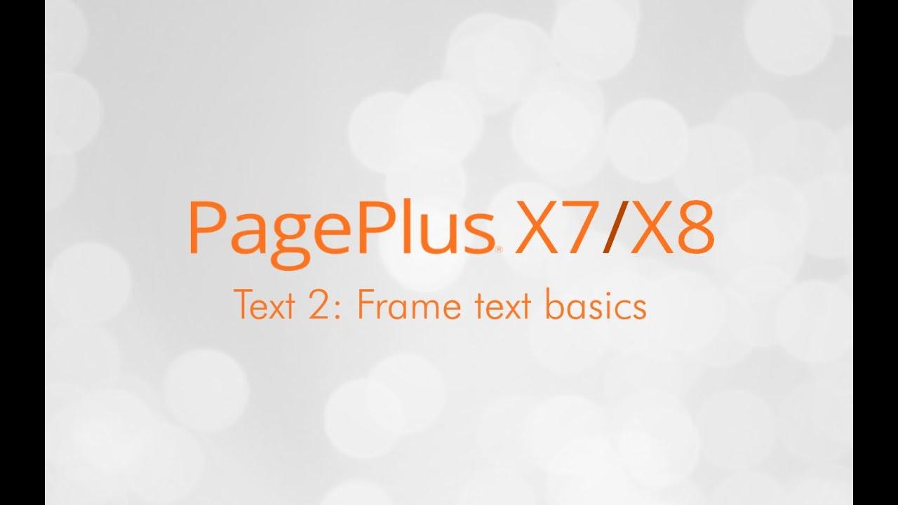 Serif PagePlus X7 & X8 Tutorial - Using Frame Text