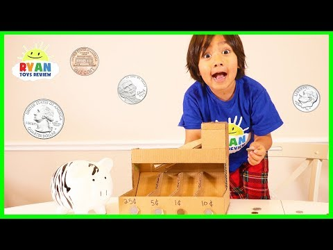 DIY coin sorting Machine from Cardboard with Ryan ToysReview