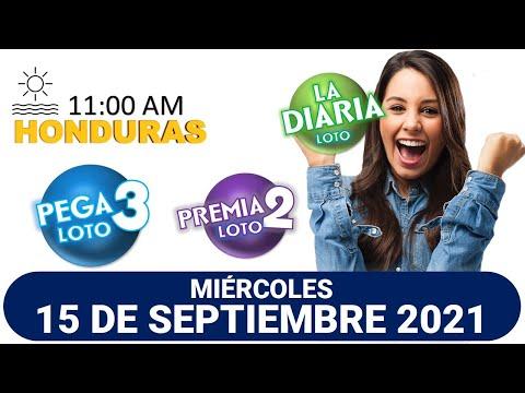 Sorteo 11 AM Resultado Loto Honduras, La Diaria, Pega 3, Premia 2, MIERCOLES 15 de septiembre 2021