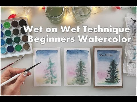 Wet on Wet Technique for Beginners Watercolor Tree ♡ Maremi's Small Art ♡