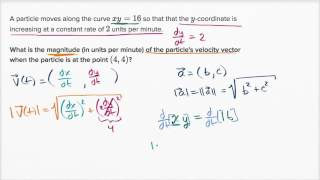 Finding velocity magnitude with implicit derivative